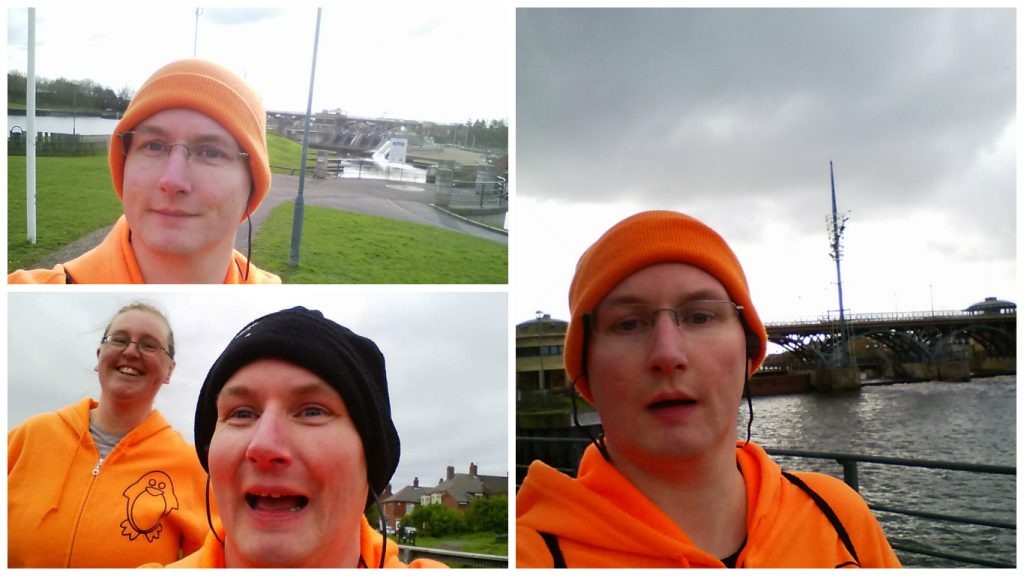 Very orange people out running
